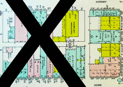 Block 1084. Howe to Hornby, Pender to Dunsmuir. 18 Buildings Down.