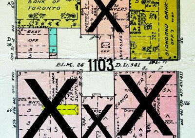 Block 1103. Richards to Seymour, Hastings to Pender. 5 Buildings Down.