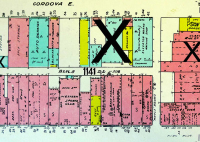 Block 1141. Main to Columbia, Cordova to Hastings. 9 Buildings Down.