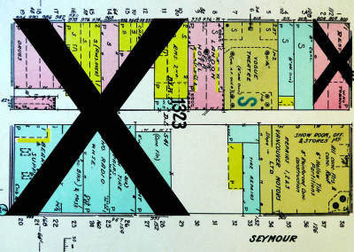 Block 1323. Seymour to Granville, Smythe to Nelson. 11 Buildings Down.