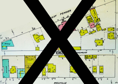 Block 1062. Thurlow to Bute, Pender to Dunsmuir and Melville. Whole Block Down (31 Buildings).