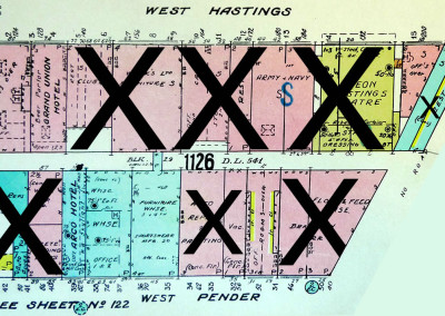 Block 1126. Alley West of Carrall to Abbott, Hastings to Pender. 15 Buildings Down.