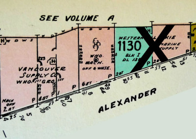 Block 1130. Columbia to Carrall, Burrard Inlet to Alexander, 2 Buildings Down.